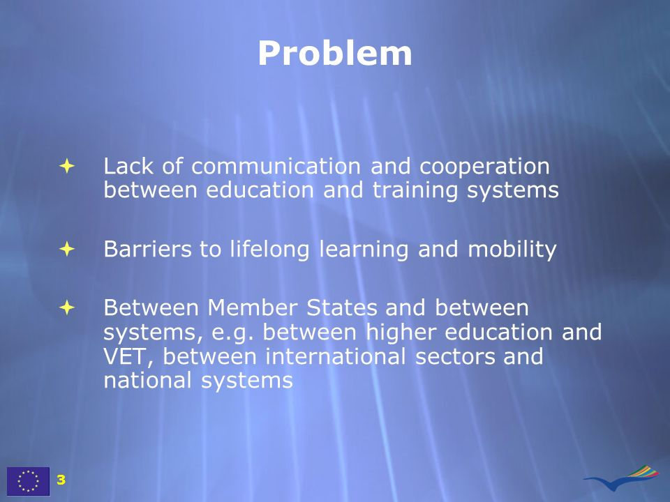 Problem Lack of communication and cooperation between education and training systems. Barriers to lifelong learning and mobility.