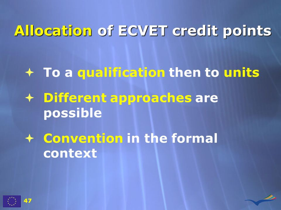 Allocation of ECVET credit points