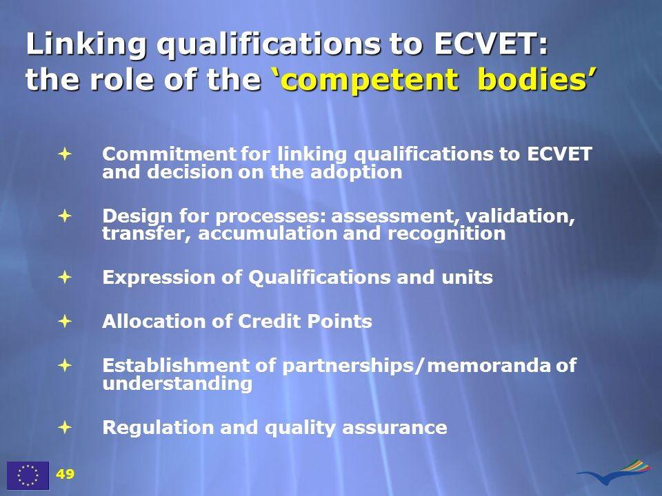 Linking qualifications to ECVET: the role of the 'competent bodies'