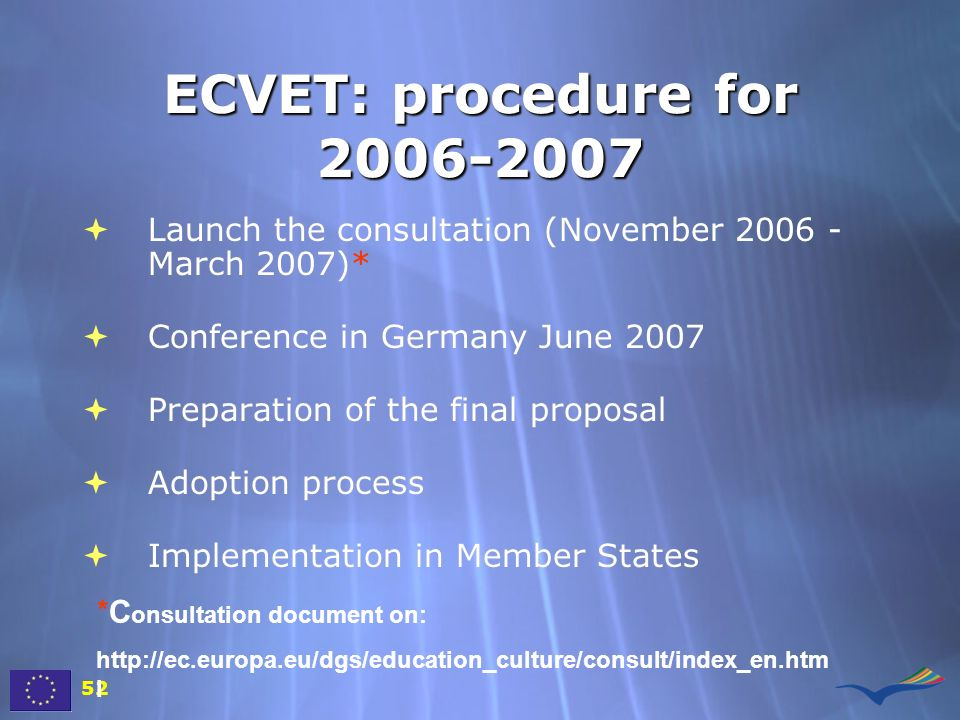 ECVET: procedure for Launch the consultation (November March 2007)* Conference in Germany June