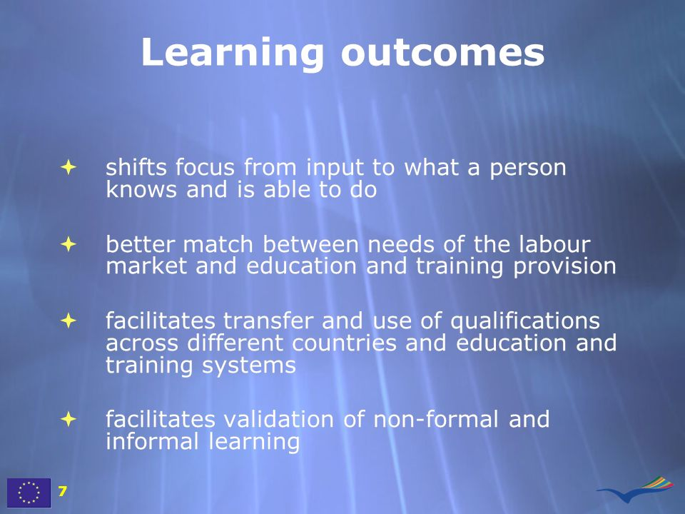 Learning outcomes shifts focus from input to what a person knows and is able to do.