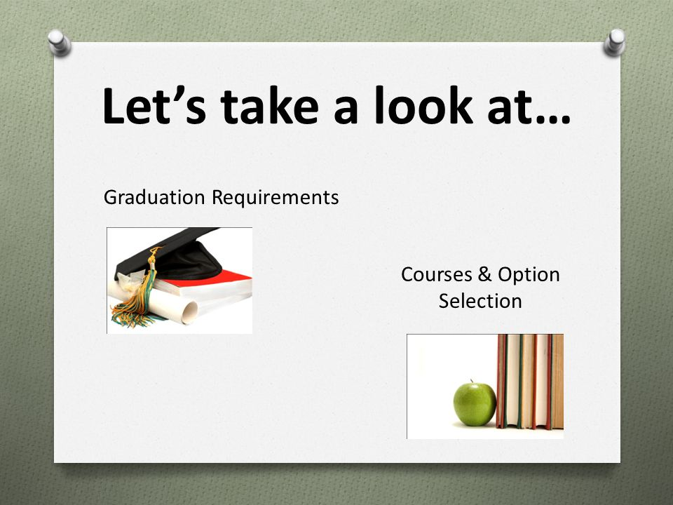 Let's take a look at… Graduation Requirements