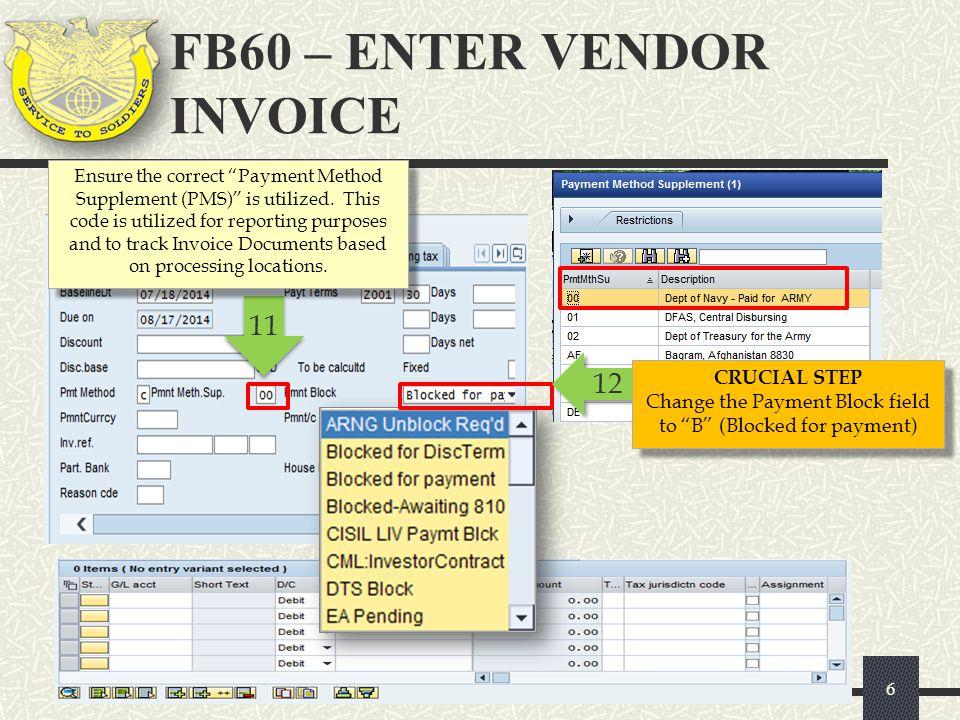 GFEBS Entering an Invoice, FB 60 Commercial Vendor Services