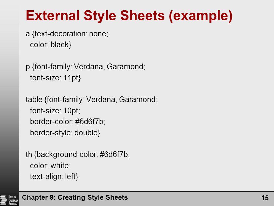 External css sheet example.