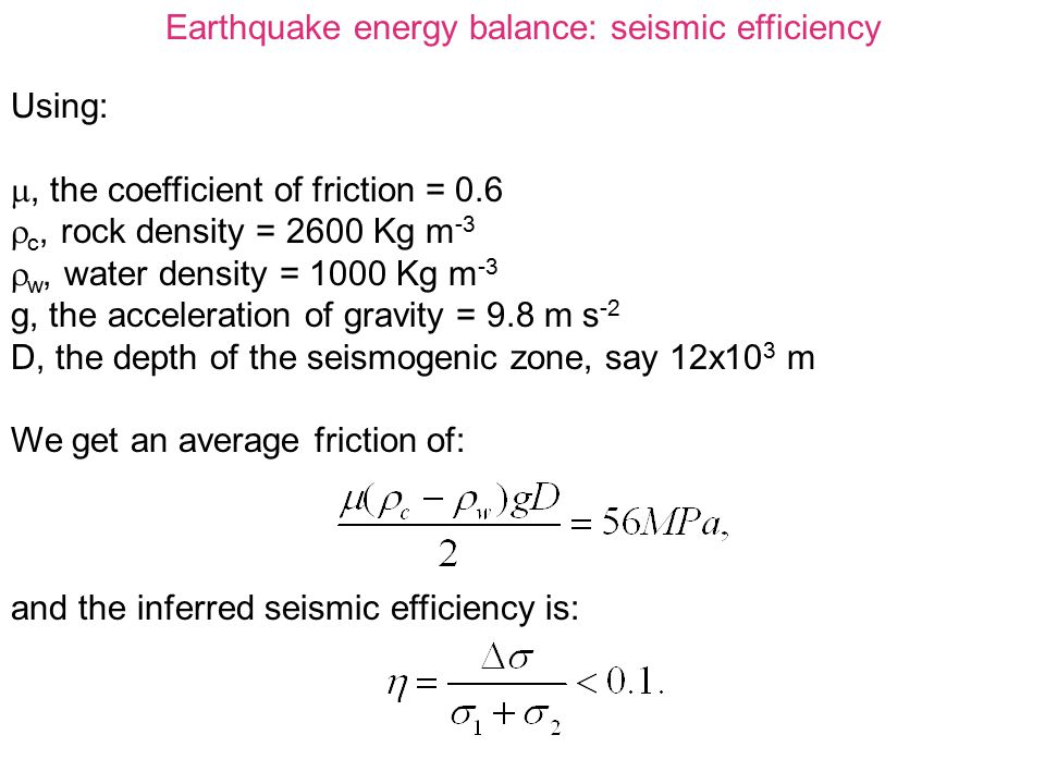 Earthquake energy balance: seismic efficiency