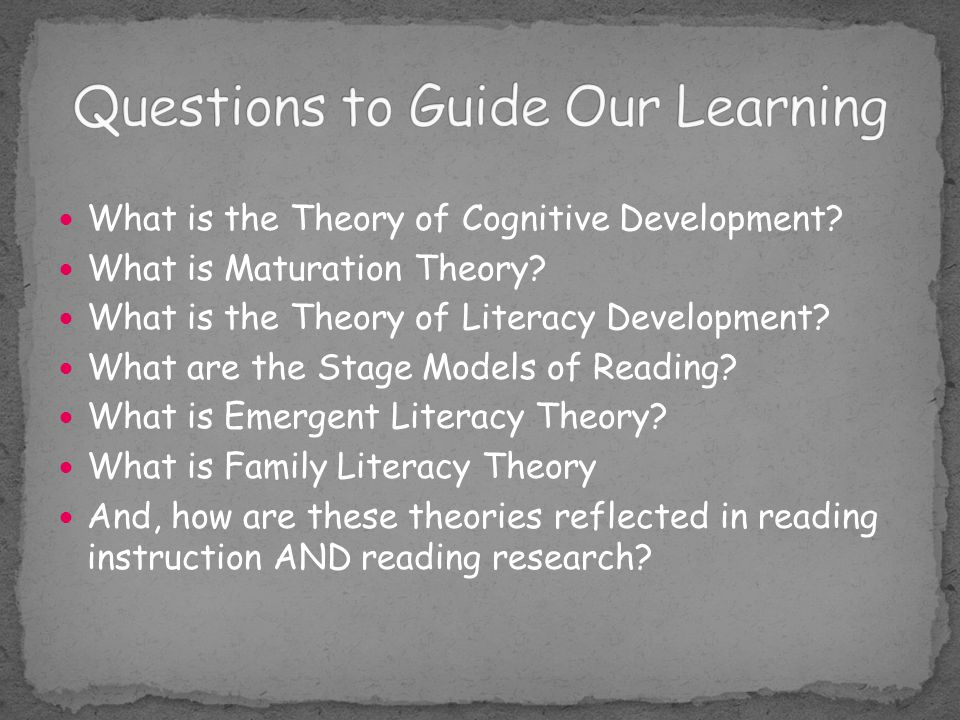 Reading theories and their relationship to reading instruction.