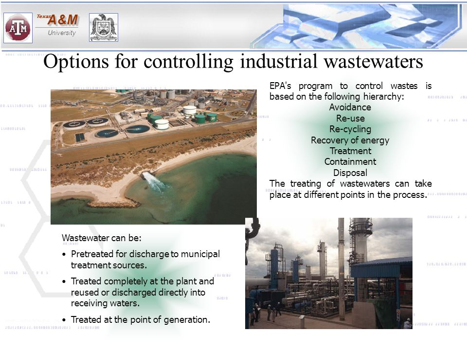 Options for controlling industrial wastewaters
