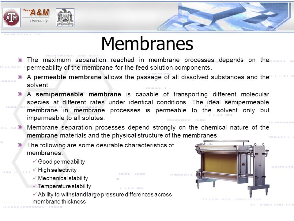 Membranes The maximum separation reached in membrane processes depends on the permeability of the membrane for the feed solution components.