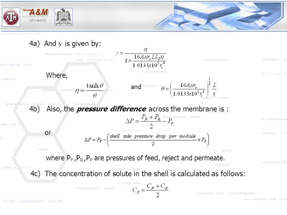4b) Also, the pressure difference across the membrane is :