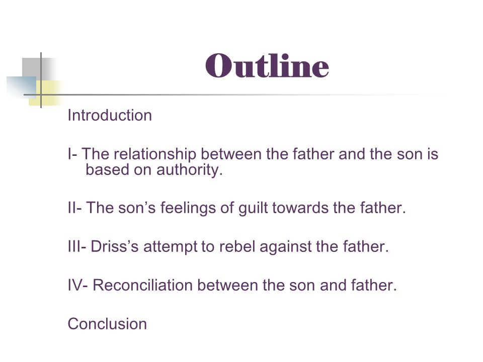 Outline Introduction. I- The relationship between the father and the son is based on authority. II- The son's feelings of guilt towards the father.