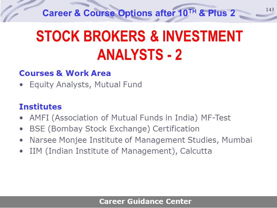 STOCK BROKERS & INVESTMENT ANALYSTS - 2