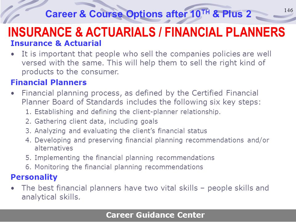 INSURANCE & ACTUARIALS / FINANCIAL PLANNERS
