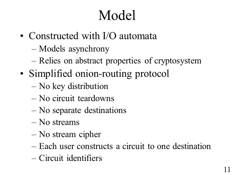 Model Constructed with I/O automata Simplified onion-routing protocol