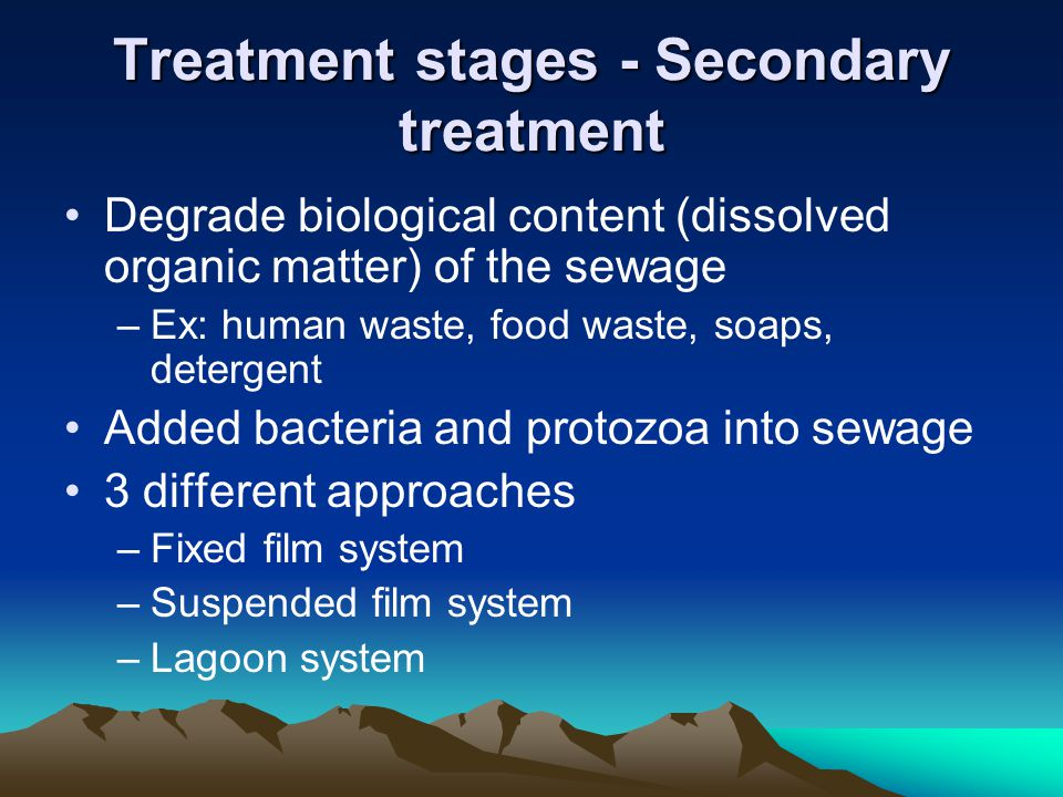 Treatment stages - Secondary treatment