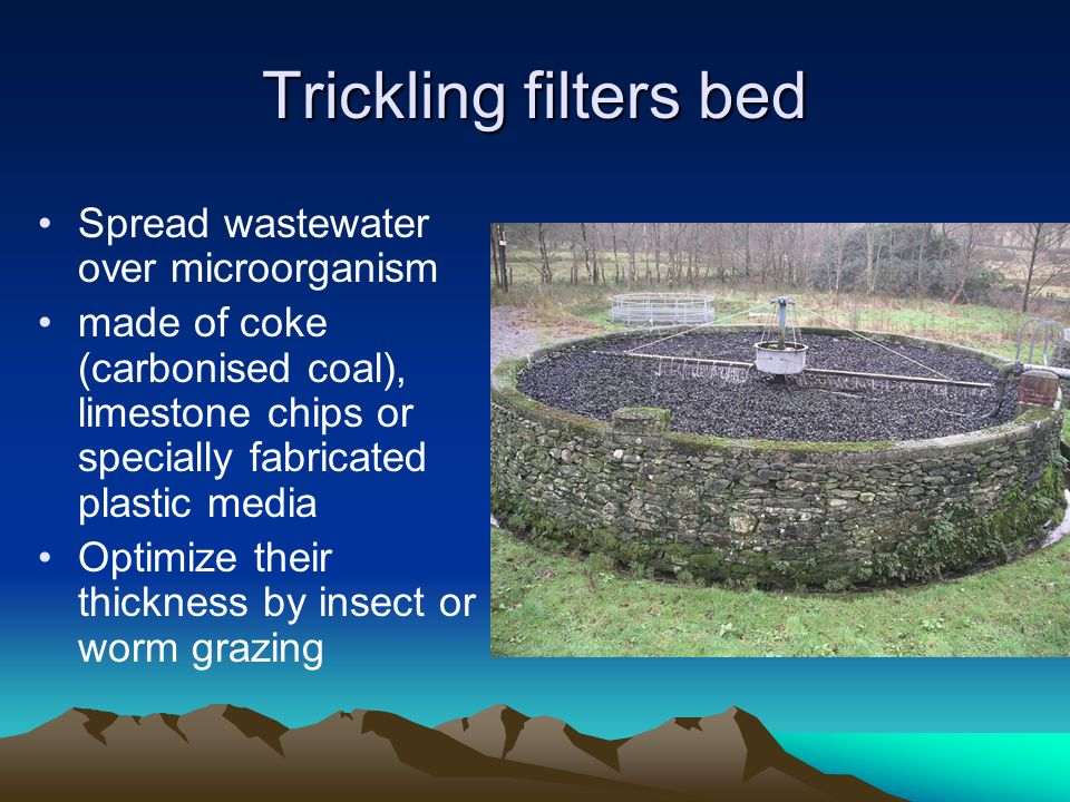 Trickling filters bed Spread wastewater over microorganism