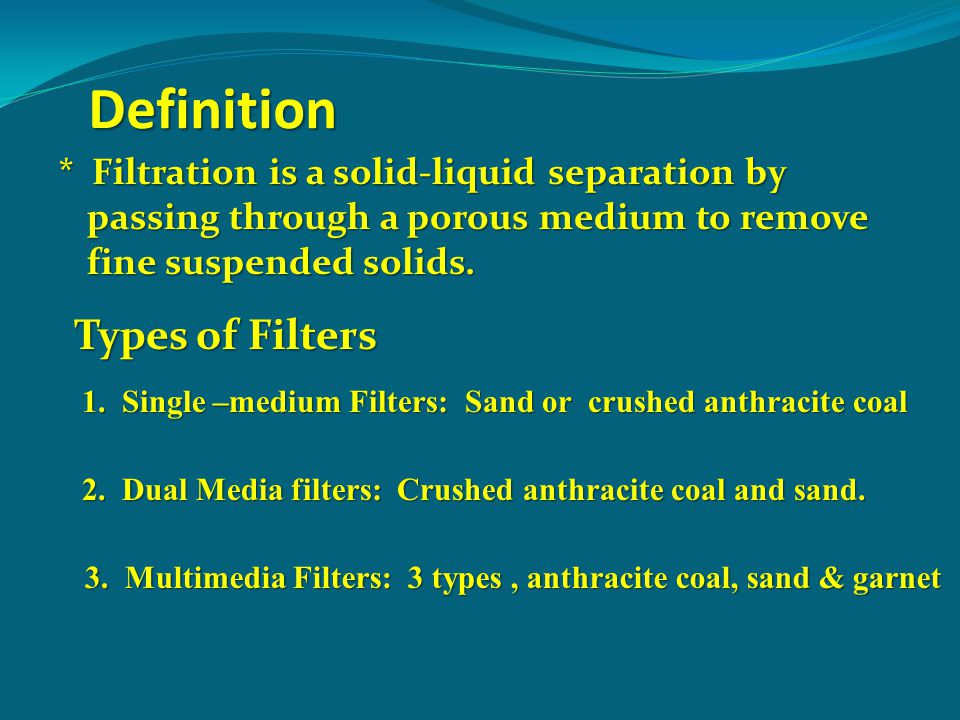 Definition Types of Filters