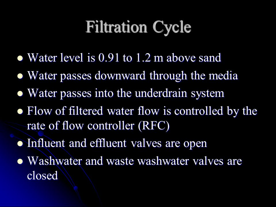 Filtration Cycle Water level is 0.91 to 1.2 m above sand