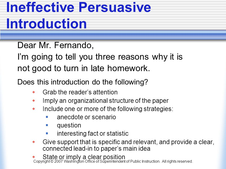 Persuasive writing in the middle grades 5 7 ppt download 83 ineffective persuasive introduction spiritdancerdesigns Images