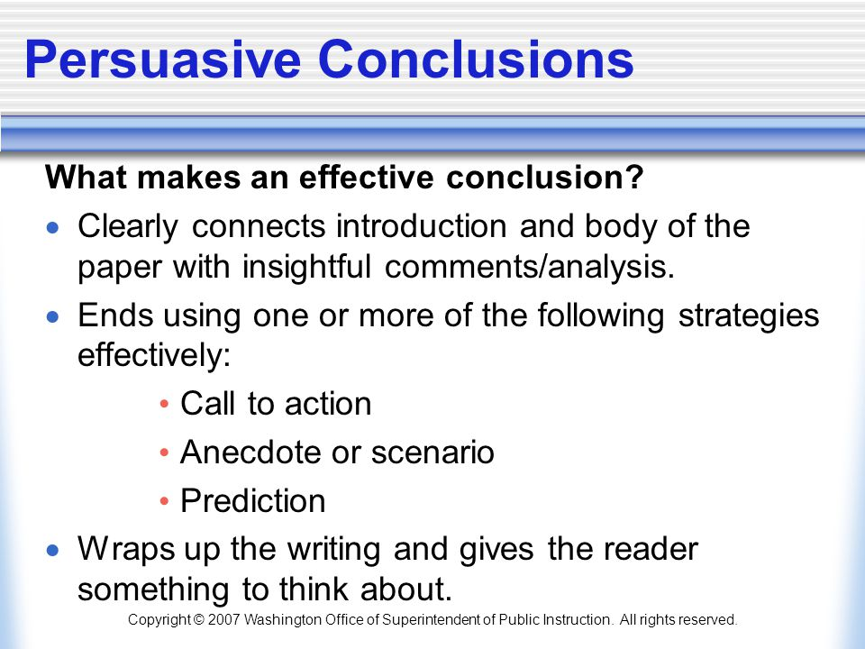 Interesting Persuasive Essay Topics For High School Students  Persuasive Conclusions What Makes An Effective Conclusion Clearly  Connects Introduction And Body Of The Paper  Frankenstein Essay Thesis also Narrative Essay Topics For High School Persuasive Writing In The Middle Grades   Ppt Download Exemplification Essay Thesis