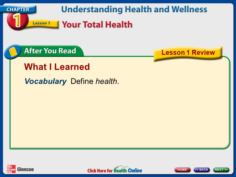 What I Learned Vocabulary Define health. Lesson 1 Review