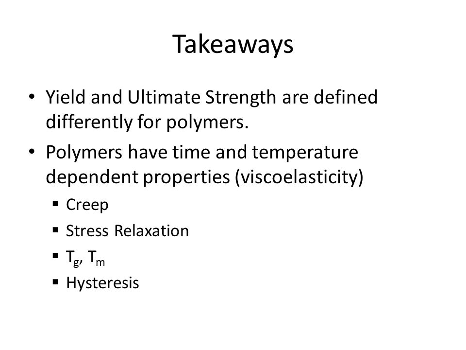 Takeaways Yield and Ultimate Strength are defined differently for polymers.