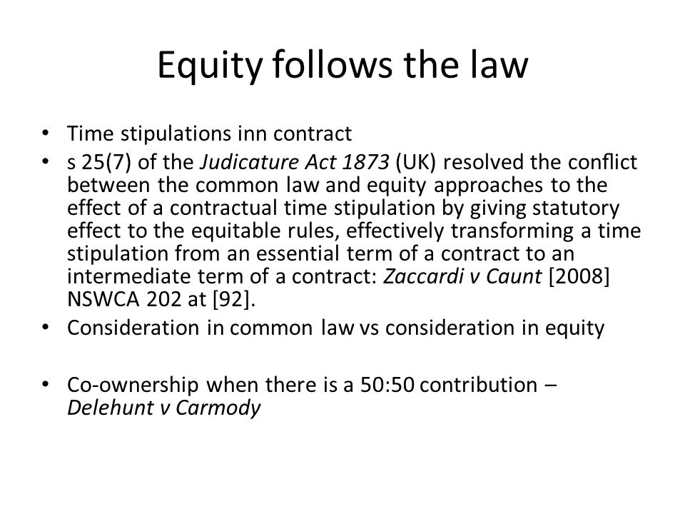 equity follows the law
