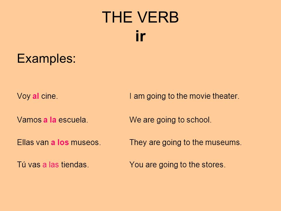 THE VERB ir Examples: Voy al cine. I am going to the movie theater.