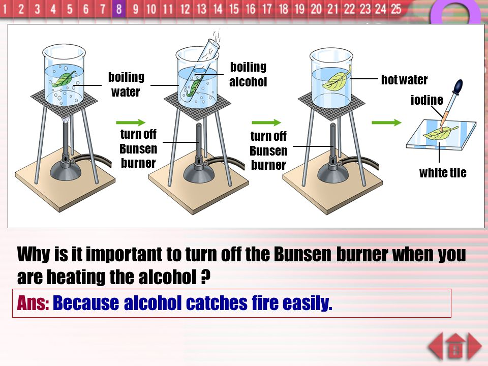Ans: Because alcohol catches fire easily.