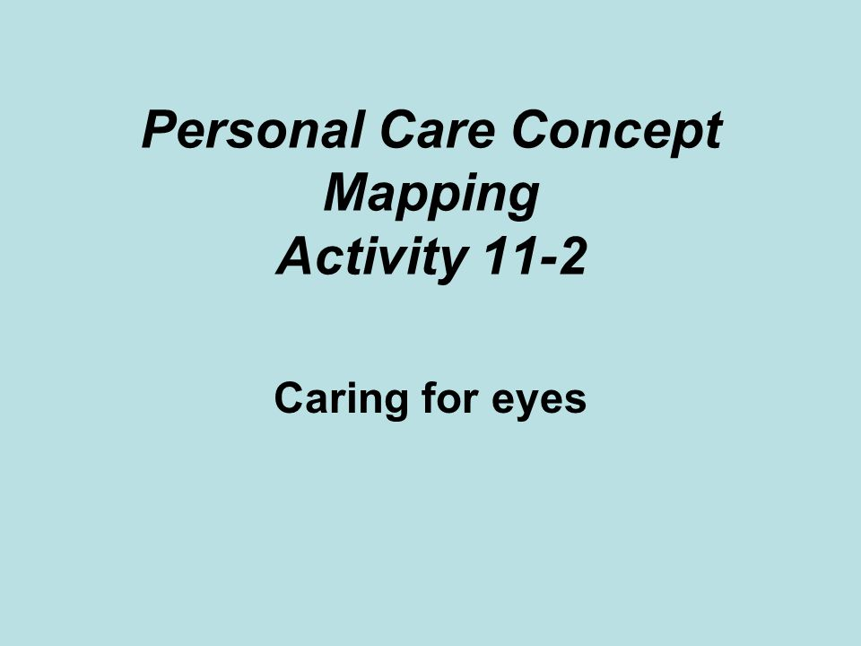 Personal Care Concept Mapping Activity 11-2