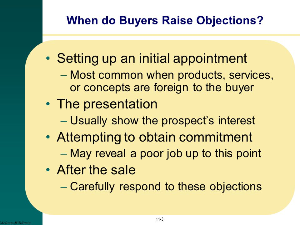 When do Buyers Raise Objections