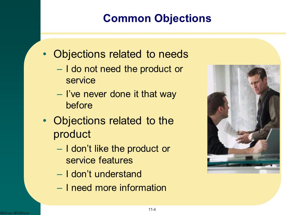 Objections related to needs
