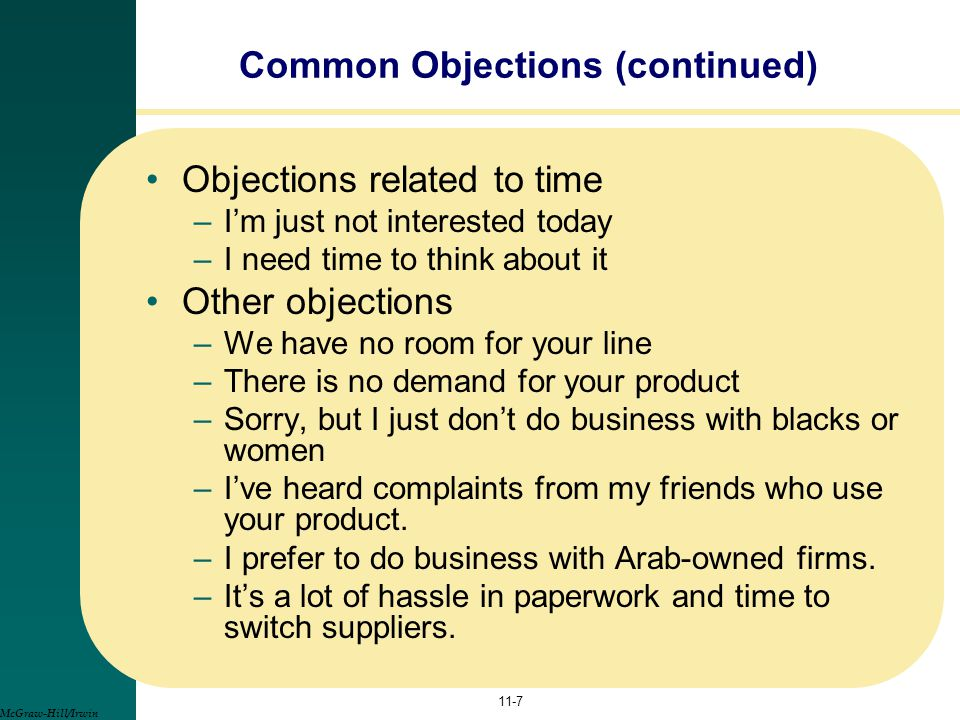 Common Objections (continued)