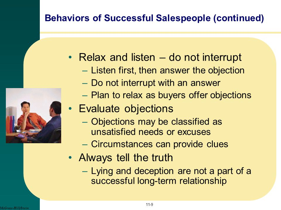 Behaviors of Successful Salespeople (continued)