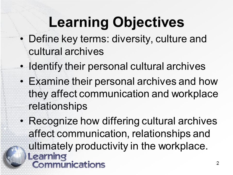 Learning Objectives Define key terms: diversity, culture and cultural archives. Identify their personal cultural archives.
