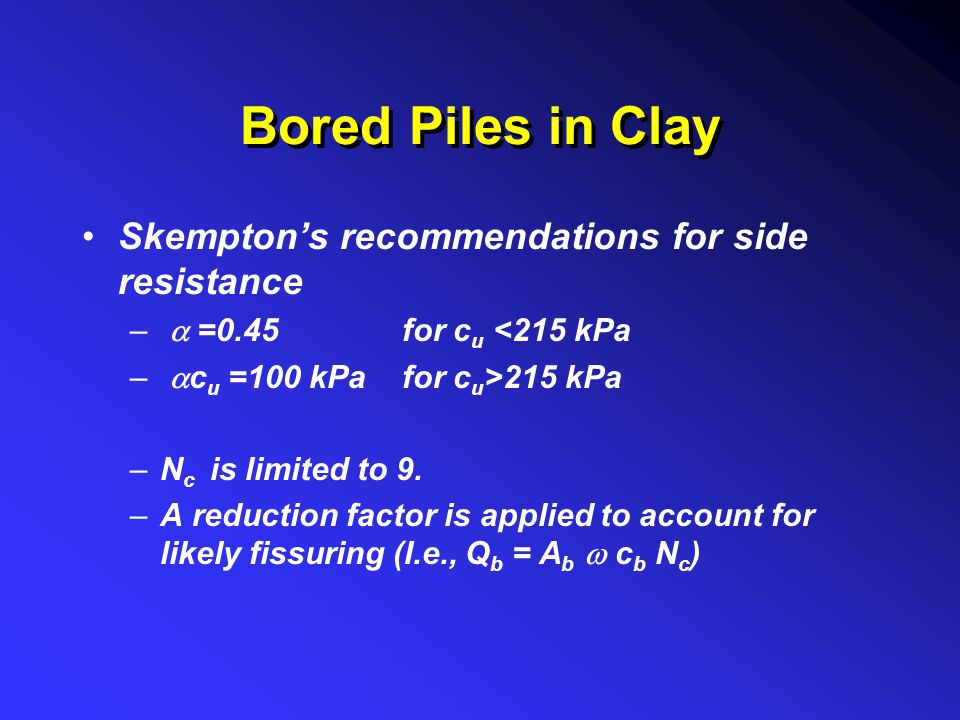 Bored Piles in Clay Skempton's recommendations for side resistance