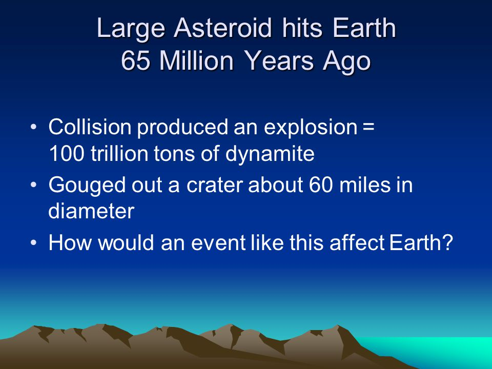 Large Asteroid hits Earth 65 Million Years Ago