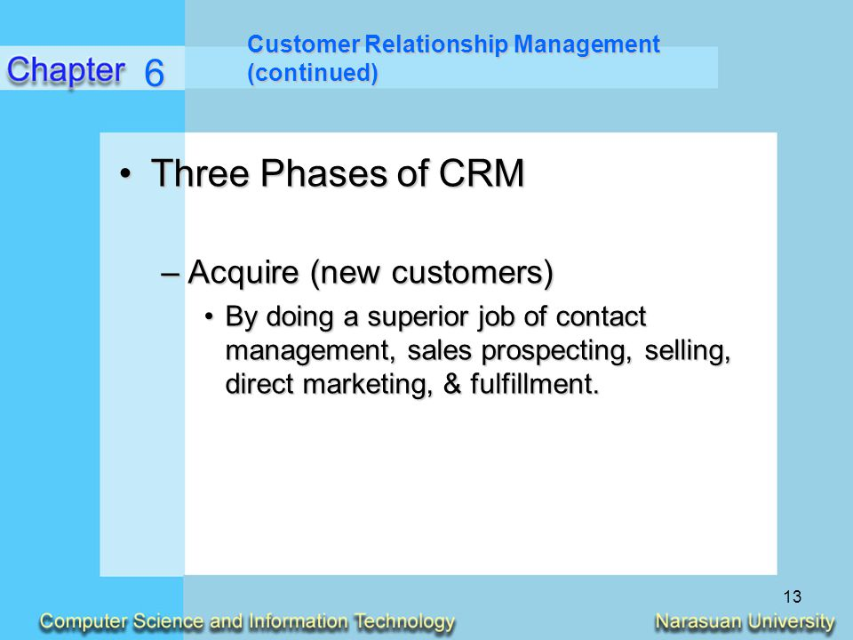 6 Three Phases of CRM Acquire (new customers)