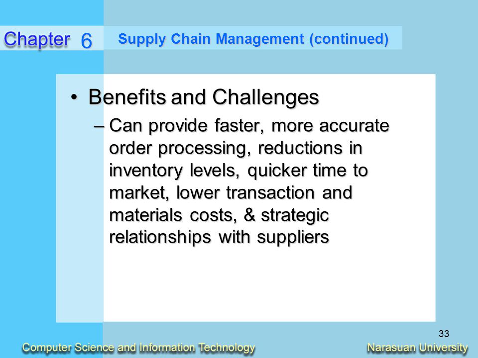 Supply Chain Management (continued)