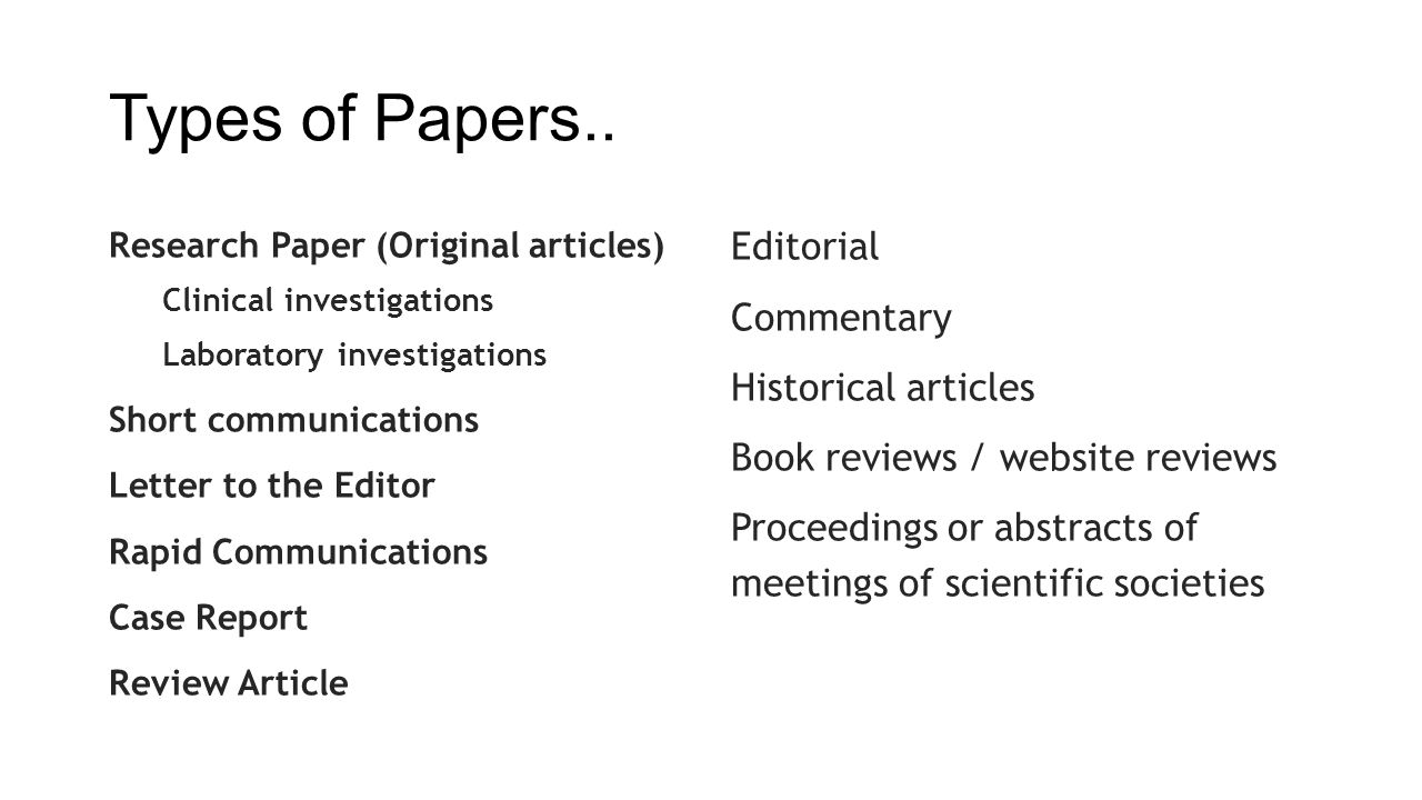 Types of Papers.. Editorial Commentary Historical articles