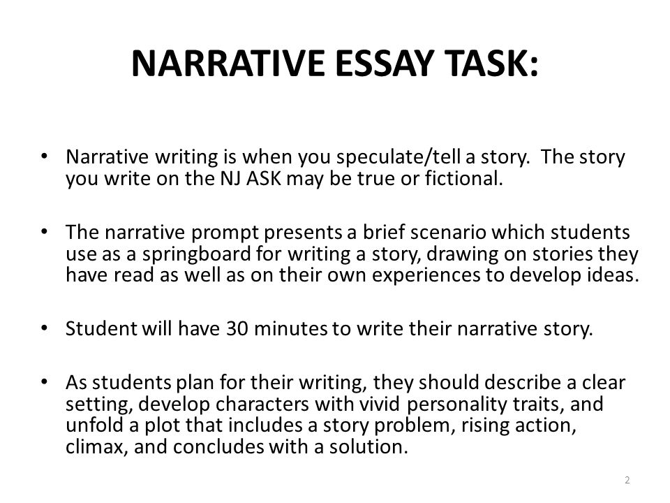 Essay On Healthcare Narrative Essay Task Narrative Writing Is When You Speculatetell A Story  The Argument Essay Paper Outline also Essay On High School Writing Part  The Narrative Task  Ppt Download Locavore Synthesis Essay