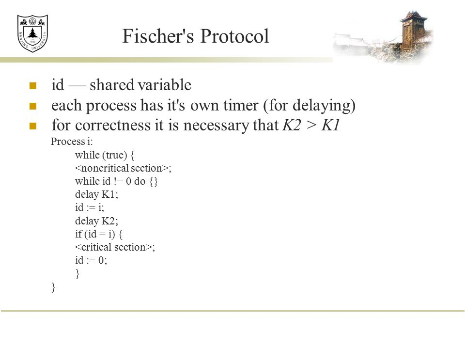Fischer s Protocol id — shared variable