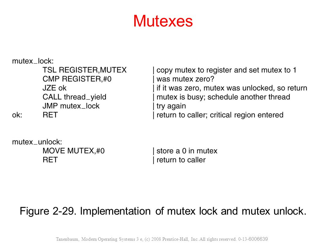 Figure Implementation of mutex lock and mutex unlock.