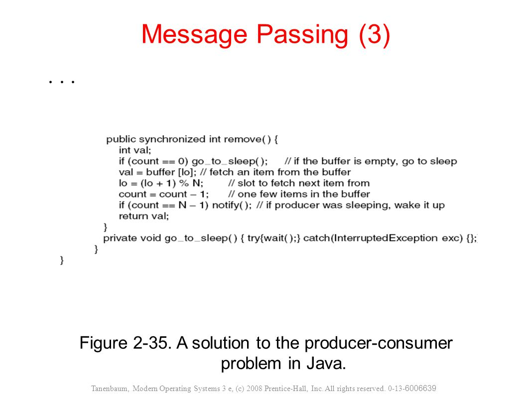 Figure A solution to the producer-consumer problem in Java.