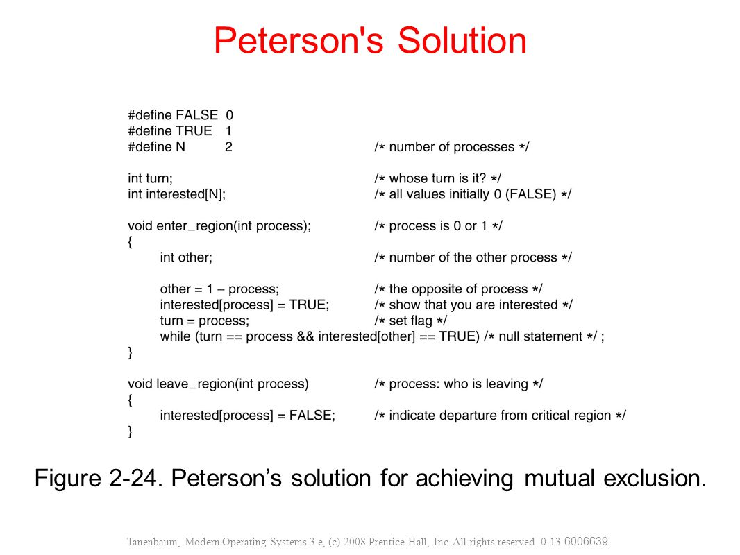 Figure Peterson's solution for achieving mutual exclusion.