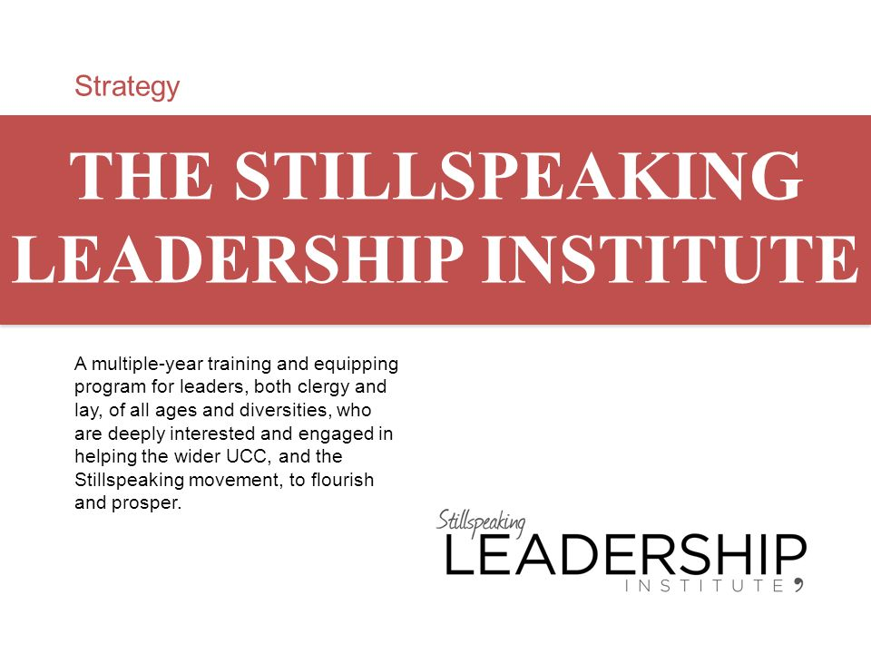 THE STILLSPEAKING LEADERSHIP INSTITUTE