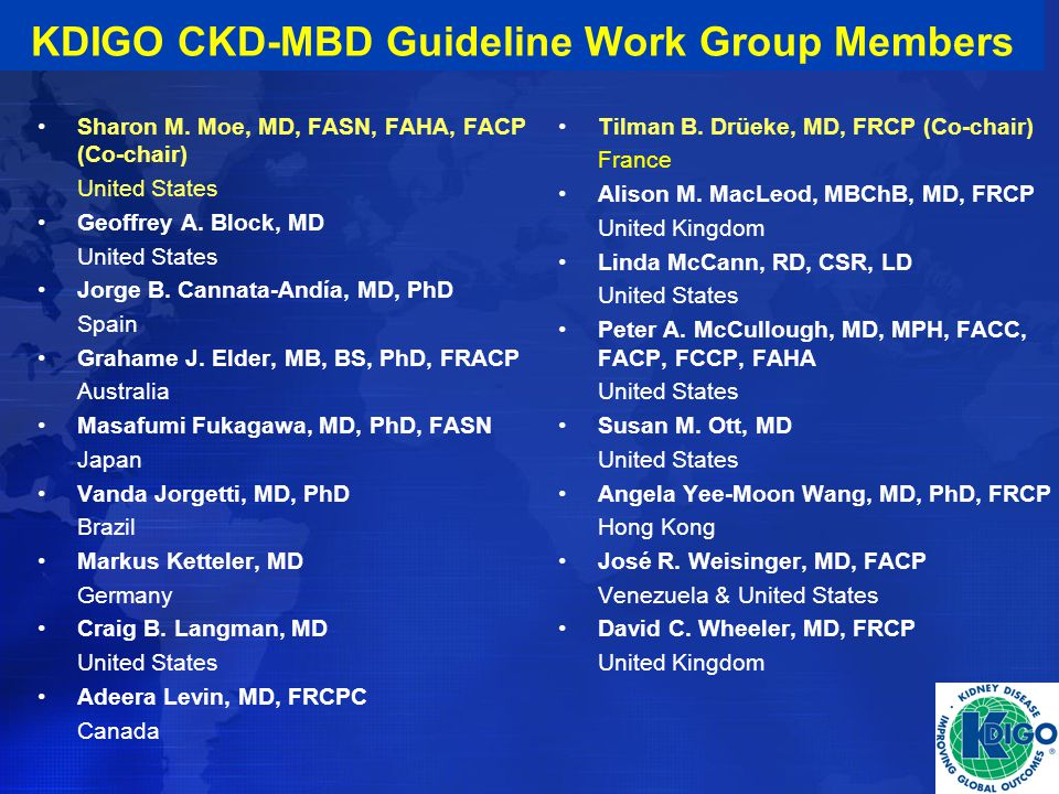 KDIGO Clinical Practice Guideline Diagnosis, Evaluation
