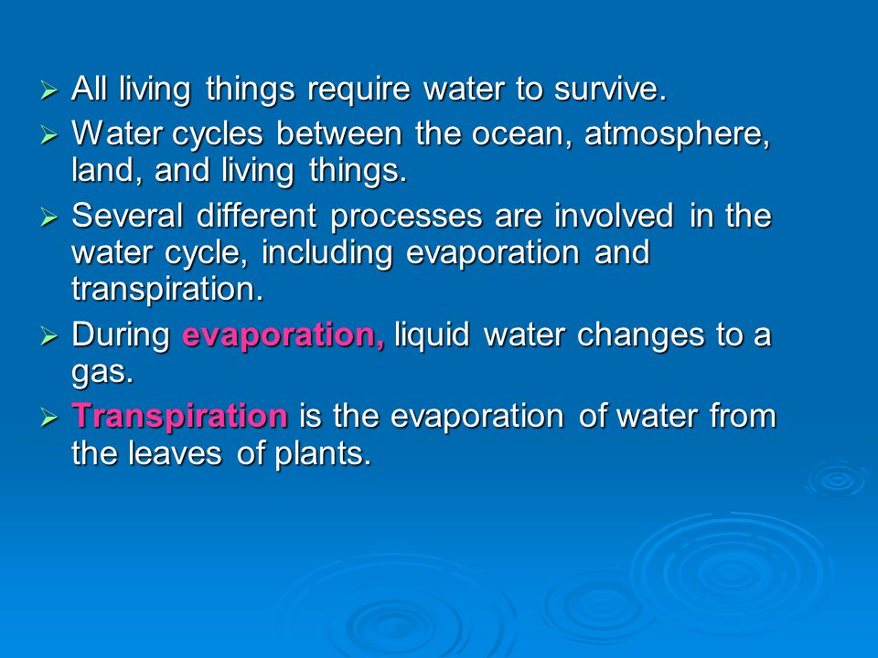All living things require water to survive.