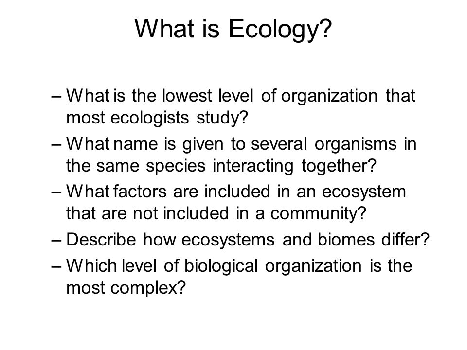 What is Ecology What is the lowest level of organization that most ecologists study