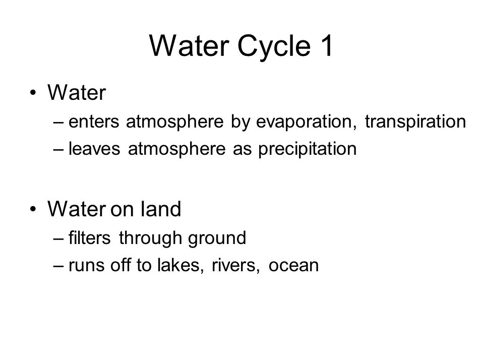Water Cycle 1 Water Water on land