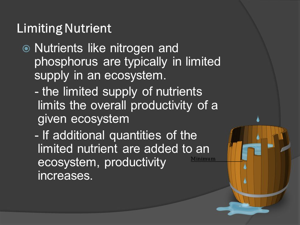 Limiting Nutrient Nutrients like nitrogen and phosphorus are typically in limited supply in an ecosystem.